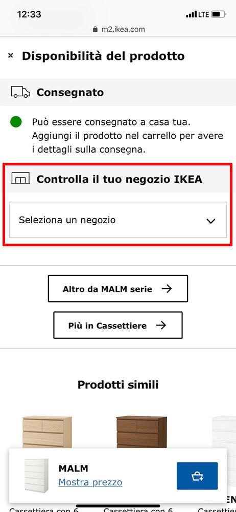 Disponibilità dei prodotti IKEA