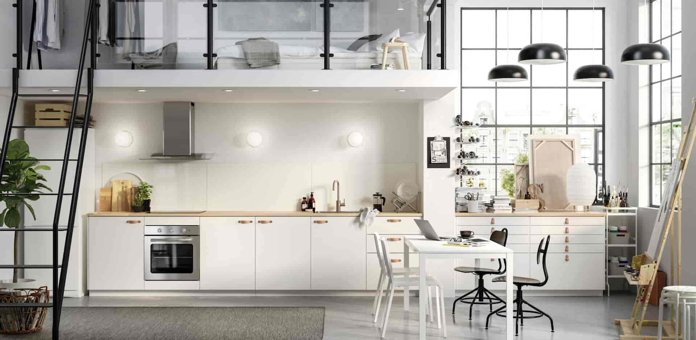дизайн белой кухни в скандинавском стиле фото
