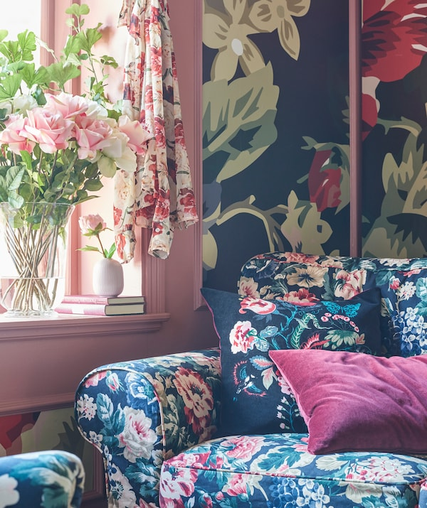 Don't be afraid to go over the top with floral patterns. From the furniture to curtains to wallpaper, go all out.