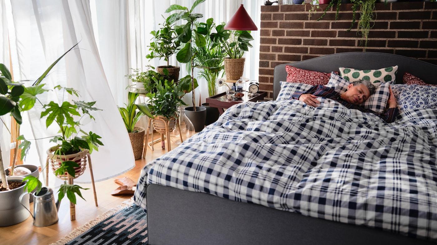 Dormitorio con plantas, una lámpara roja, una estructura de cama tapizada HAUGA gris, una funda nórdica blanca y azul, y una mujer durmiendo.