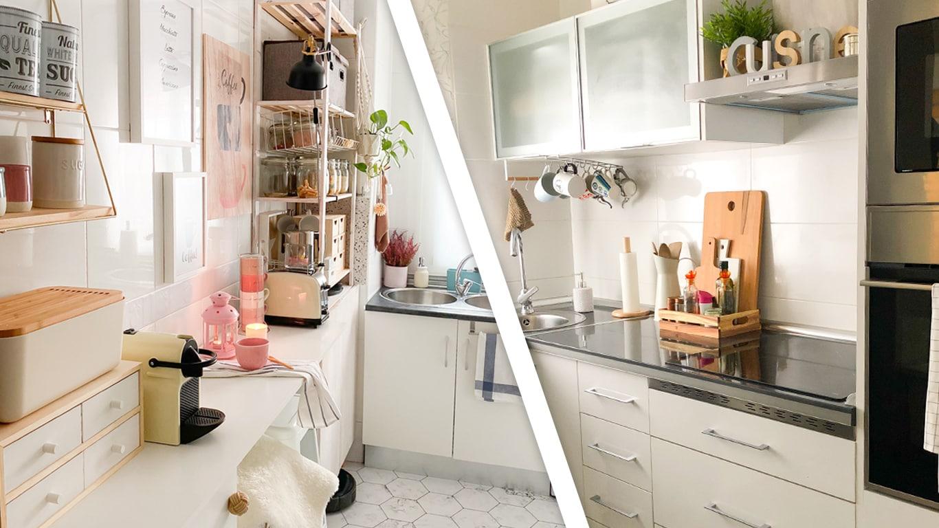 Dos cocinas blancas con estilos diferentes