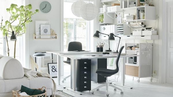 Mesa Despacho Ikea Blanca.Decoracion De Oficinas Como Montar Una Oficina En El Salon