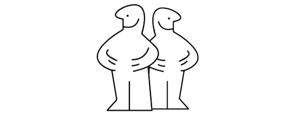 Dos ilustraciones en blanco y negro que simbolizan el compromiso de IKEA de alcanzar la igualdad de género en un 50/50 en todas las funciones.