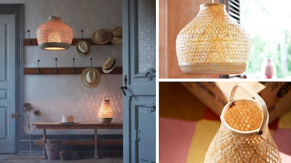 drie foto's met misterhult hanglamp en tafellamp