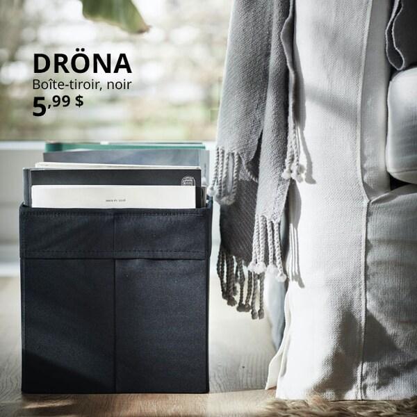 DRÖNA Boîte-tiroir, noir.