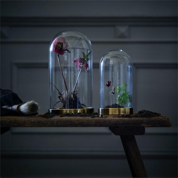 Due vetri a cupola con basi in oro pieni di fiori seduti su una panchina in una stanza buia.