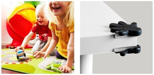Dwoje dzieci bawiących się na dywanie i narożnik stołu z ochraniaczem narożnym
