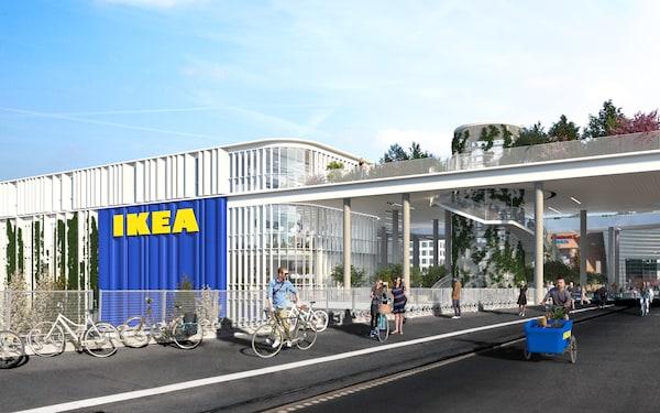 Dybølsbro med cykelister og gående ved det nye IKEA København.