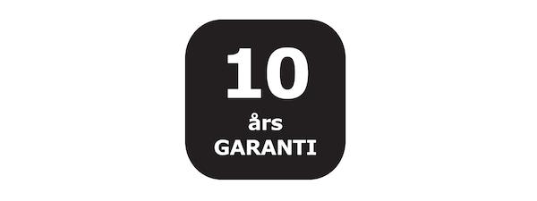 En svart logga/Ikon för 10 års garanti på badrumsserien GODMORGON.
