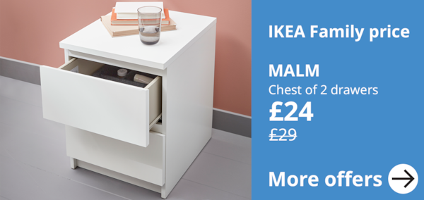 IKEA family offer on MALM chest of 2 drawers, a price reduction to £24 form £29. A close up of a white chest with stack of books ontop along with a  water glass. The top drawer  is open showing organisation inside.
