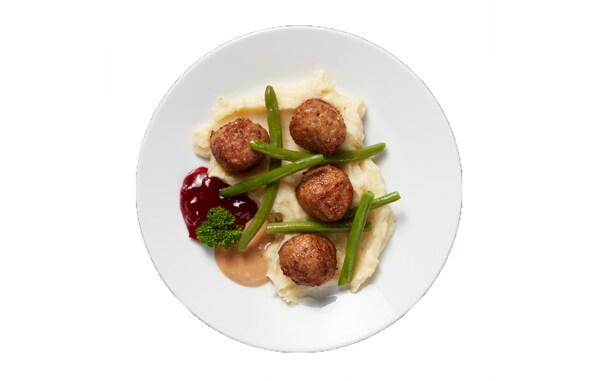 Vegetarische of gehaktballetjes met friet of puree