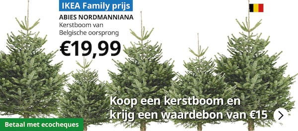 Koop een kerstboom en ontvang een bon van 15€