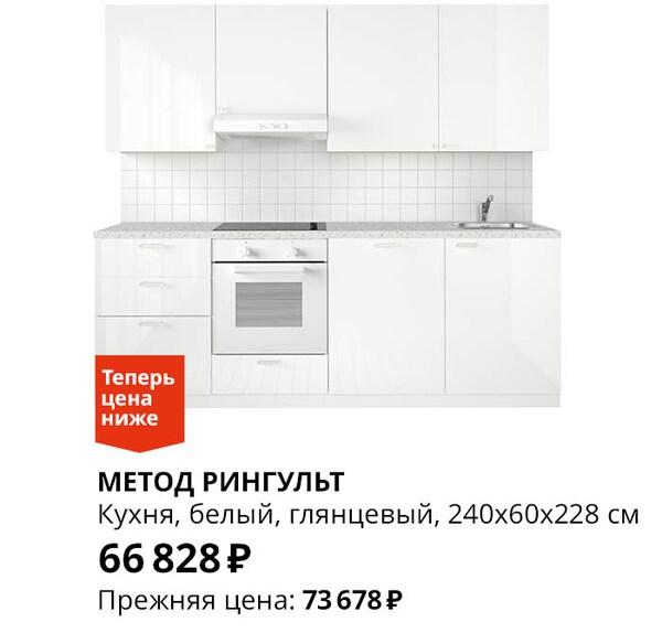 Кухонный гарнитур белый глянцевый