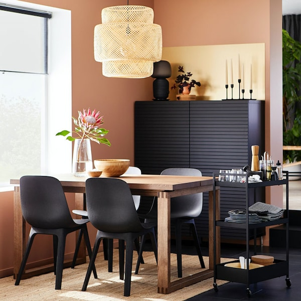 Earthy shades and a sustainability-focused dining space.