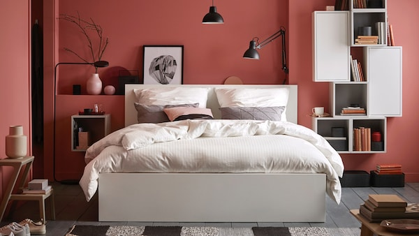 IKEA MALM white bedframe can be combined in the same bedroom for a coordinated but functional shared bedroom.