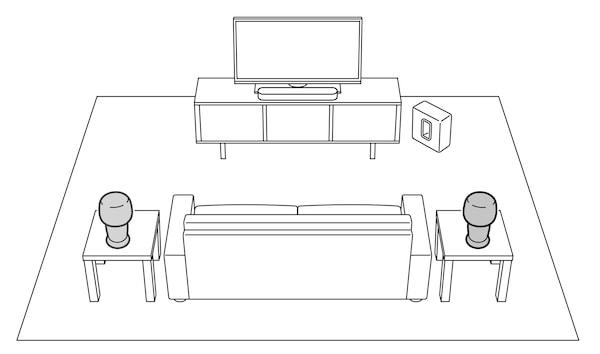 Een schets van een ruimte met een thuisbioscoopsysteem, een zitbank en twee kleine tafels.