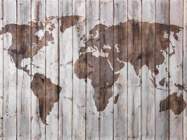 Een silhouet van de wereld op een houten wand symboliseert dat IKEA een wereldwijd merk is met veel producten die van hout gemaakt zijn.