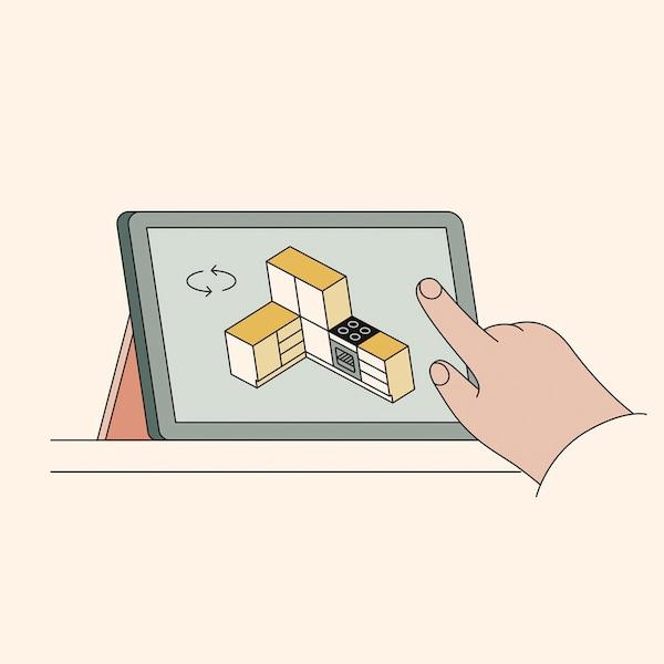 Een tablet met de online keukenplanner
