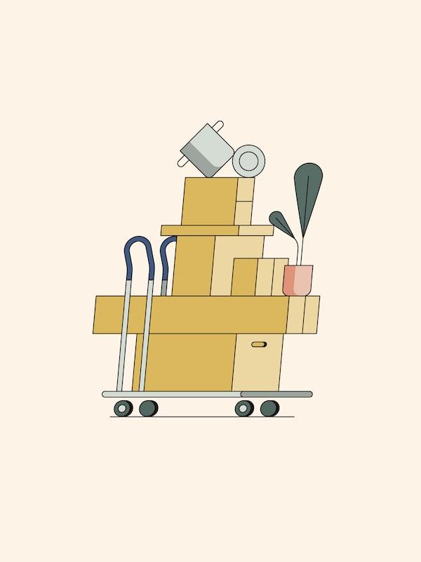 Een tekening van een winkelwagentje volgestapeld met pakketten, een potplant en bovenop balanceren een pot en deksel.