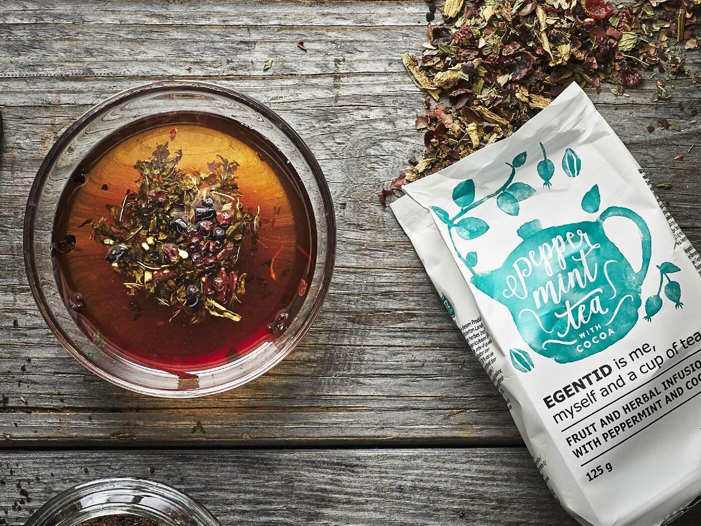 EGENTID gyümölcs és gyógynövény tea, borsmenta/kakaó.
