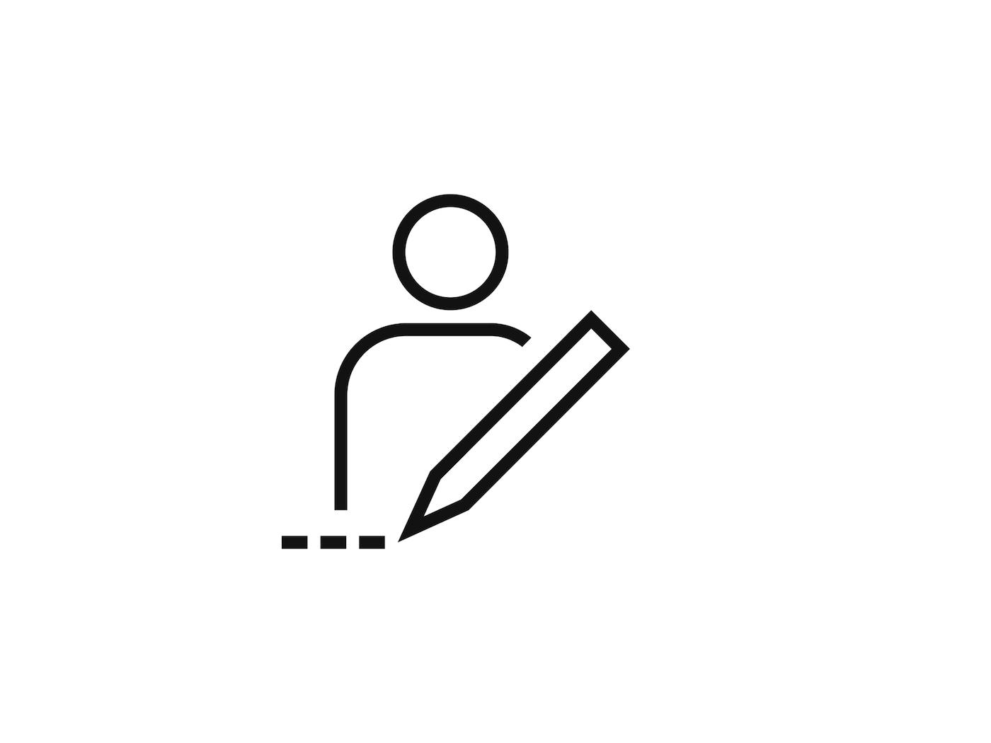 Egy ceruza mögött álló személy piktogramja.