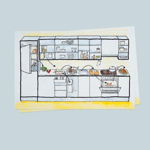 Egy konyha rajzolt terve kék háttéren.