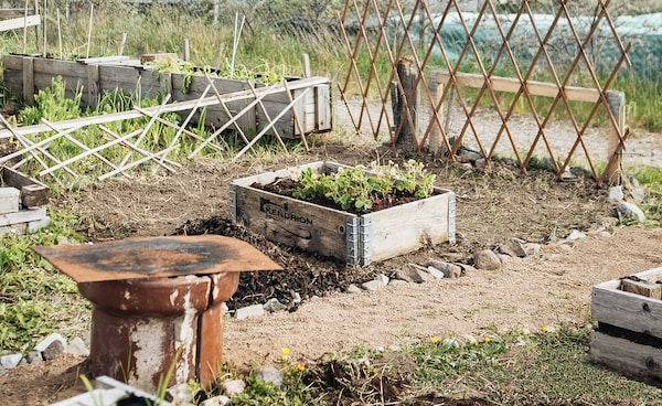 Ein Beet in einem Stadtgarten, bereit für die Aussaat.