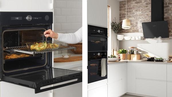 Ein Blick in eine IKEA Küche voll ausgestattet mit IKEA Küchengeräten
