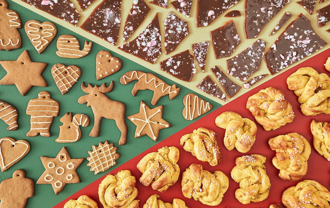 Ein Blick von oben auf Toffee, Pfefferkuchen und Safranbrötchen