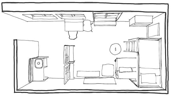 Ein Grundriss unserer IKEA Inneneinrichterin für den kleinen Raum. Raumteiler sorgen für das Gefühl mehrere Räume in einem Raum.