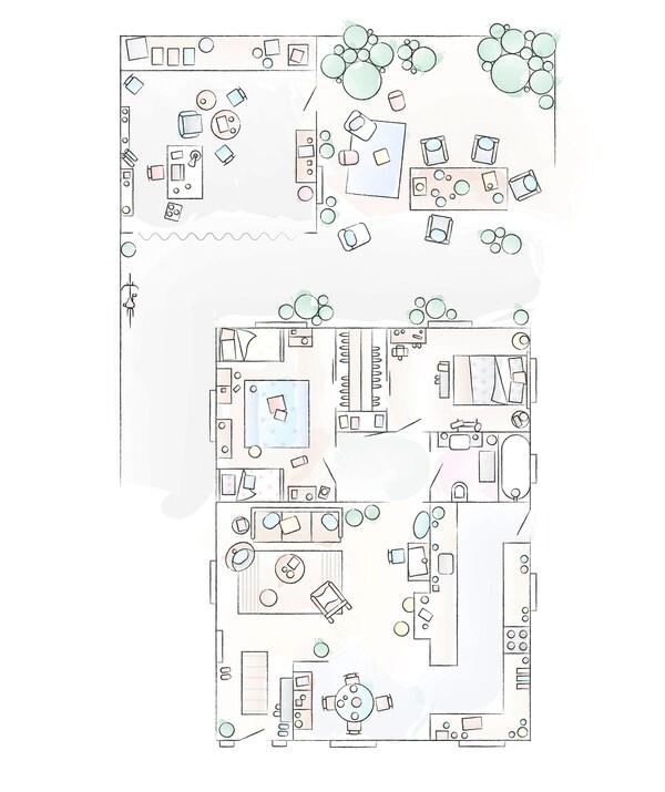 Ein Grundriss von Chloés Zuhause