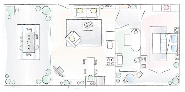 Ein Grundriss von Elisabettas Zuhause.