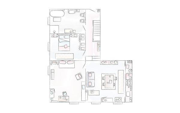 Ein Grundriss von Elisas Wohnung