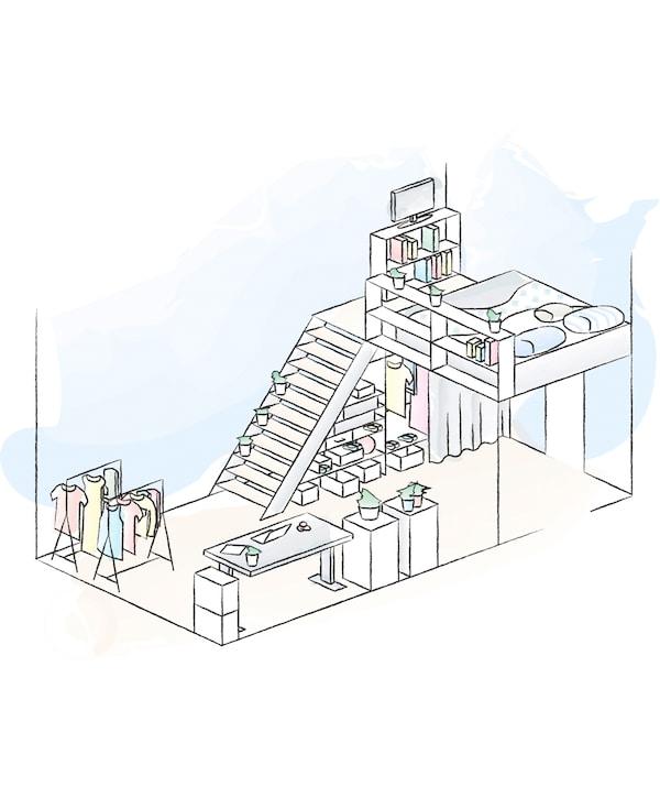 Ein Grundriss von Julias und Andrés Schlafzimmer