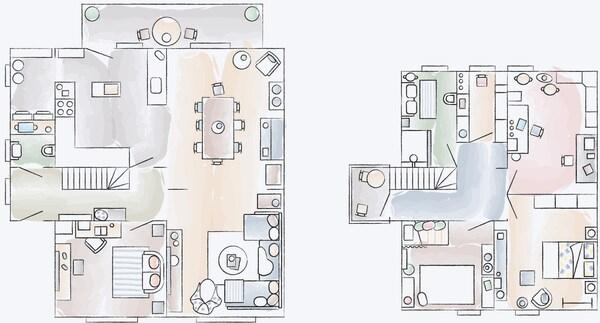 Ein Grundriss von Monas Zuhause in Hamburg