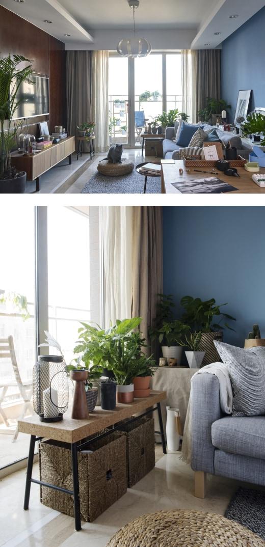 Ein hell eingerichtetes Wohnzimmer in neutralen Farben und Blautönen, u. a. mit 3er-Sofa mit Bezug in Grau.