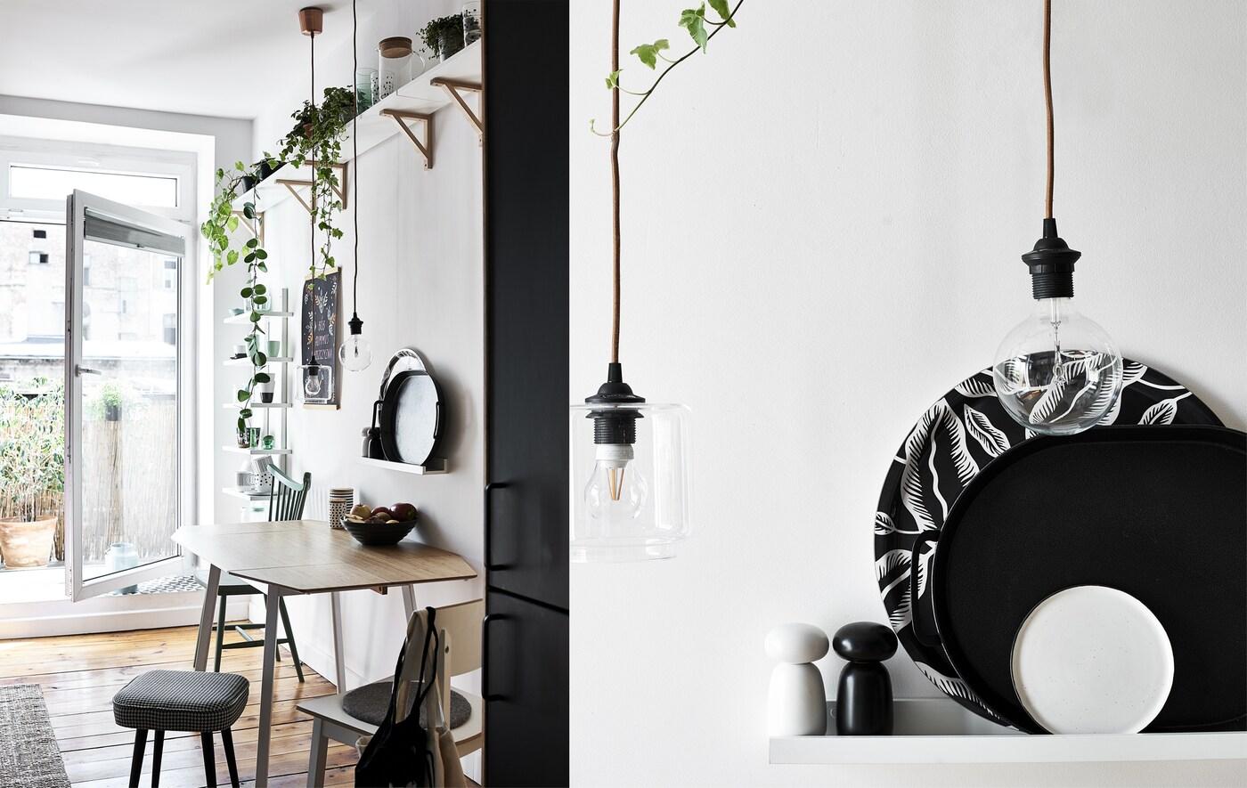 Ein Küchentisch mit Pflanzen auf einem Regal darüber und eine Nahaufnahme von einfarbigen Tabletts auf einem Regal mit Glühlampen davor.
