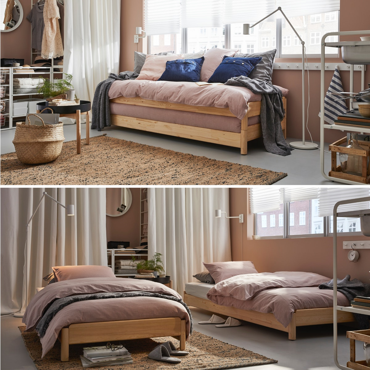 Ein vielseitiges Wohn- und Schlafzimmer mit Bett, Couchtisch, Wandleuchte und Spiegel.