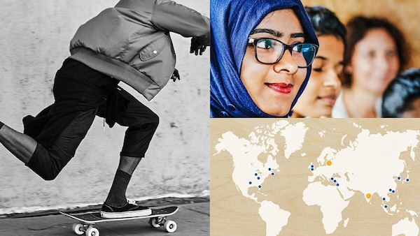 Eine Auswahl von Fotos, ein Skater in schwarz-weiß, eine Landkarte & eine Inderin