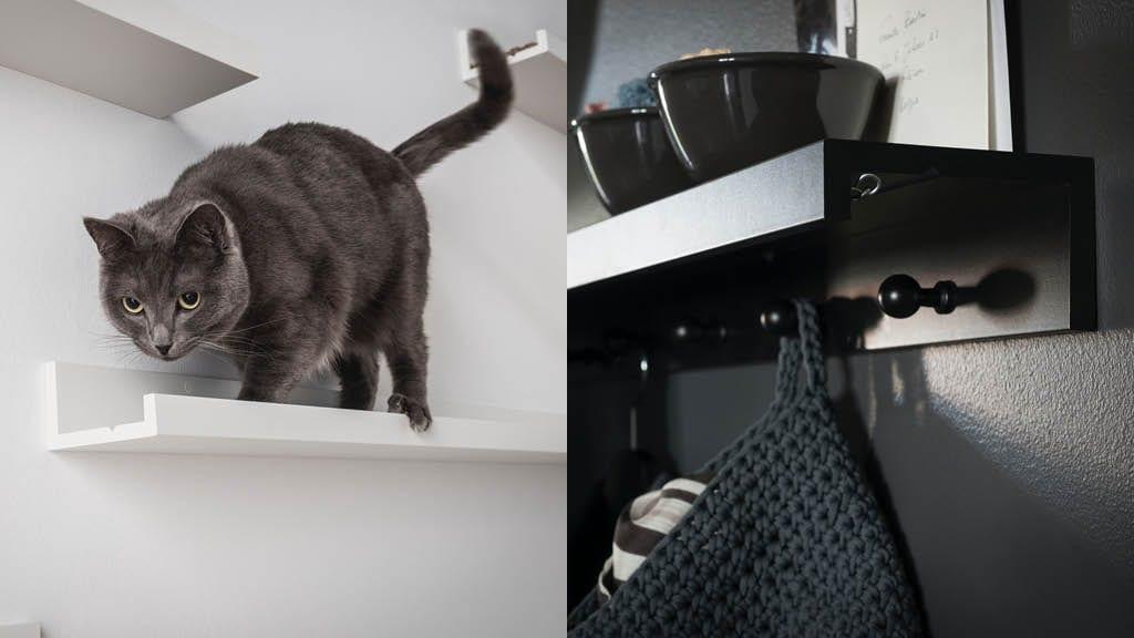 Eine Collage zeigt Bilderleisten als Katzenregal an einer Wand und als Garderobe mit Haken.