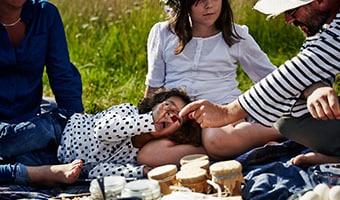 Eine Familie beim schwedischen Picknick