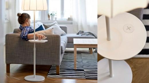 Eine Frau entspannt sich auf einem Sofa, während sie ihr Smartphone auf eine Ladestation legt (links). Nahaufnahme einer IKEA Standleuchte mit integrierter Ladestation (rechts).