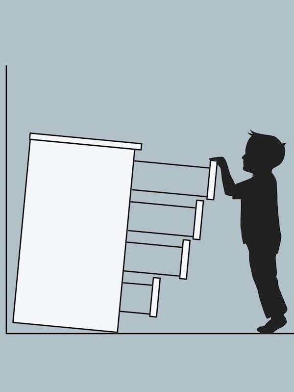 eine Grafik um Möbel für die Kindersicherheit zu montieren