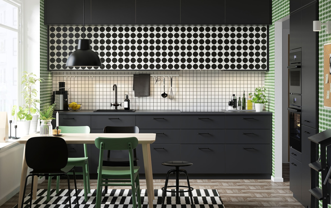 Küche mit verschiedenen mustern gestalten ikea
