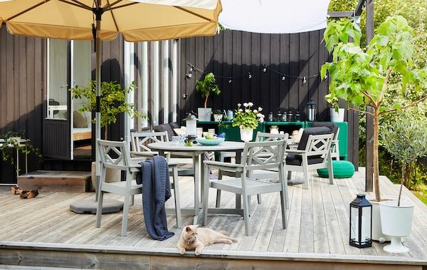 Eine große Terrasse im Stil eines Wohnzimmers mit Tischen, Stühlen, Pflanzen, Aufbewahrung, Beleuchtung und einer Katze, die es sich auf dem Boden bequem macht.