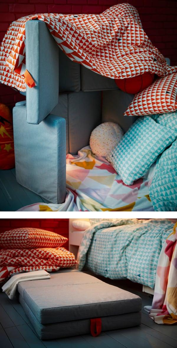 Einfach IKEA SLÄKT Sitzkissen/Matratze faltbar falten, mit STILLSAMT Bettwäsche überziehen und voilà – schon ist das Fort fertig. Ein Sitzsack erhöht den Komfort und hält das Fort stabil.