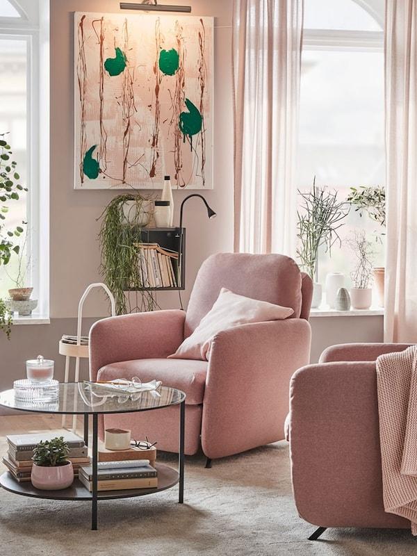 EKOLSUND light brown-pink recliner in bright and feminine living room setting