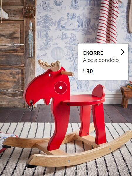 EKORRE Alce a dondolo, rosso/legno dell'albero della gomma - IKEA