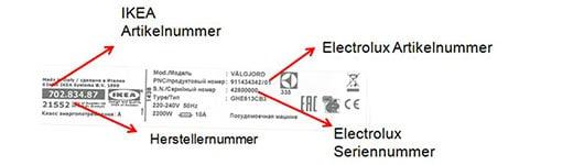 Elektrolux Herstellernummer 21552