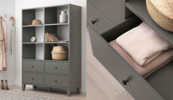 Elemento contenitore, grigio scuro, I cassetti, facili da aprire e chiudere, sono provvisti di fermacassetti.